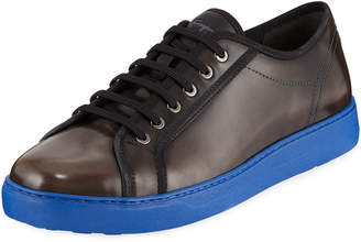 Salvatore Ferragamo Men's Lace-Up Sneakers with Contrast Heel
