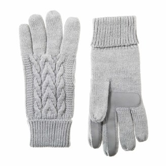 Isotoner Women's Cable Knit Touchscreen Gloves with Warm Fleece Lining heather grey 1SZ