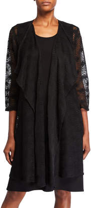 Caroline Rose Textured Long Draped Open-Front Cardigan