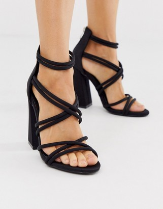 Co Wren curved block heeled strappy sandals in black
