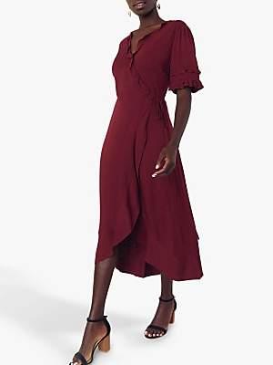 Oasis Ruffle Wrap Skirt Midi Dress, Berry