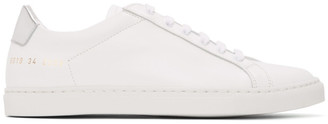 Common Projects White and Silver Retro Low Sneakers