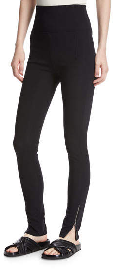 Helmut Lang High-Waist Technical Zip Leggings, Black