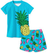 Sunshine Swing Girls' Board Shorts - Blue Pineapple Watermelon Rashguard Top & Bottoms - Toddler & Girls