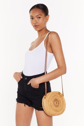 Nasty Gal Womens Crossbody Wicker Bag with Faux Leather Shoulder Strap - Natural