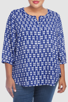NYDJ Cabana Weave Printed 3/4 Sleeve Blouse In Plus