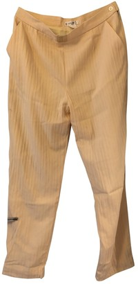 Celine Yellow Synthetic Trousers