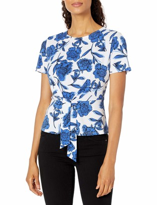 Kasper Women's Shadow Floral Printed Moss Crepe Short Sleeve TIE Front Blouse