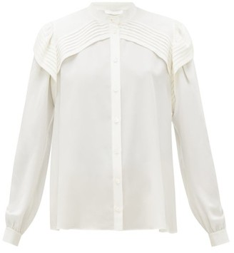 Chloé Festive Pleated-panel Silk-georgette Blouse - Womens - Ivory