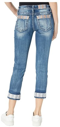 Miss Me Mid-Rise Capris with Single Cuff in Dark Blue (Dark Blue) Women's Jeans