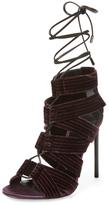 Tom Ford Lace-Up Velvet Sandal