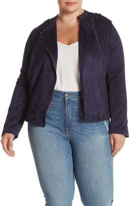 Blu Pepper Faux Suede Moto Jacket (Plus Size)