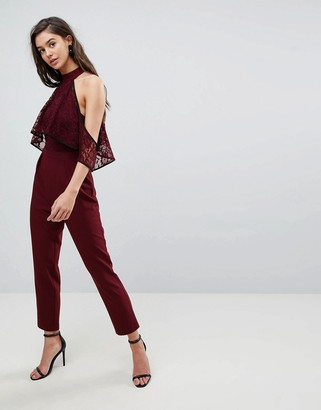 Asos Design ASOS High Neck Lace Top Jumpsuit with Contrast Binding