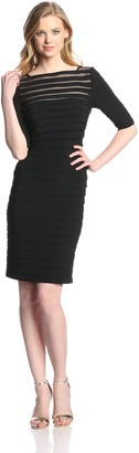 Adrianna Papell Women's 3/4 Sleeve Banded Illusion Dress