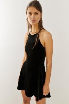 Urban Outfitters Velvet Mini Skater Dress - Black XS at