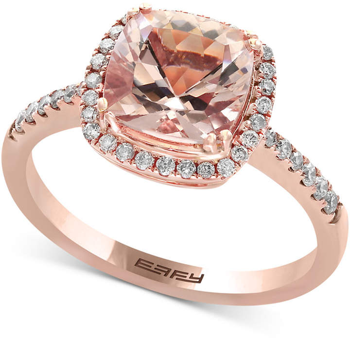 Effy Blush Morganite (1-5/8 ct. t.w.) and Diamond (1/4 ct. t.w.) Ring in 14k Rose Gold