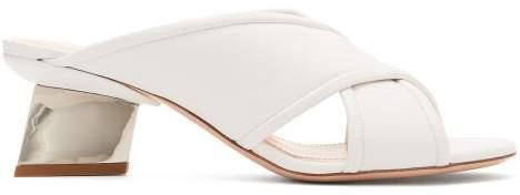 Nicholas Kirkwood Veronika Split Mirror Heel Leather Mules - Womens - White