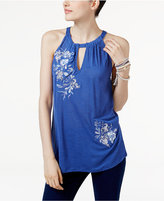 INC International Concepts Petite Embroidered Keyhole Top, Only at Macy's