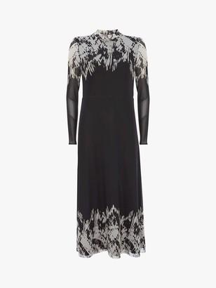 Mint Velvet Ava Abstract Midi Dress, Black