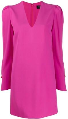 Versace V-neck puff sleeve dress