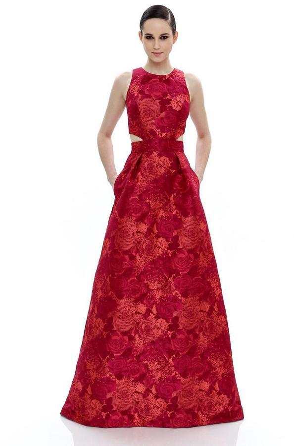 Theia Floral Jewel Neck Dress 882438