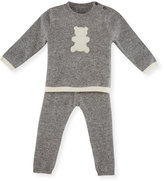 Sofia Cashmere Cashmere Teddy Bear Pajama Set, Gray/Ivory, Size 3-18 Months