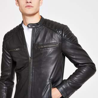 Superdry Mens River Island Black leather jacket