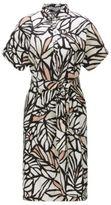 HUGO BOSS Holera Printed Viscose Linen Shirt Dress 10 Patterned