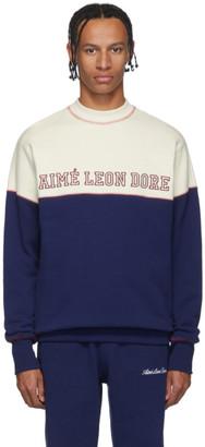 Aimé Leon Dore Off-White and Navy Terry Cross Stitch Sweatshirt