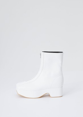 Flat Apartment Zipped Platform Boot White