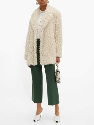 Tibi Notch Lapel Faux Shearling Coat - Womens - Ivory
