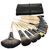 JuJu Bestrice Professional 24 Pcs Natural Goat and Badger Cosmetic Brush Set with Pouch