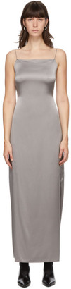 Helmut Lang Grey Silk Satin Open Back Dress