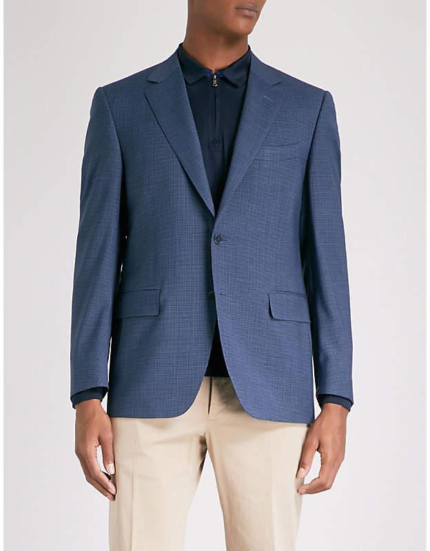 Canali Mini-check regular-fit wool jacket