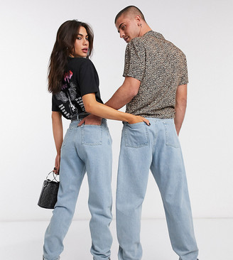 Reclaimed Vintage inspired The '83 unisex relaxed jean in light wash blue