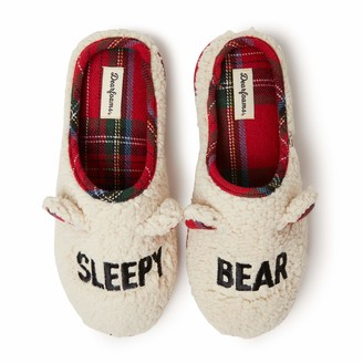 Dearfoams Unisex Bear Moods Clog Slippers (Sleepy Bear Grumpy Bear) Charming Cozy and Comfortable in Classic Pattern and Color - Cushioned Insole with Memory Foam Indoor/Outdoor Rubber Outsole