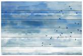 """Parvez Taj Blue Sky Birds White Wood Wall Art - 36\"""" x 24\"""""""
