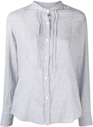 Nili Lotan Striped Mandarin-Collar Shirt