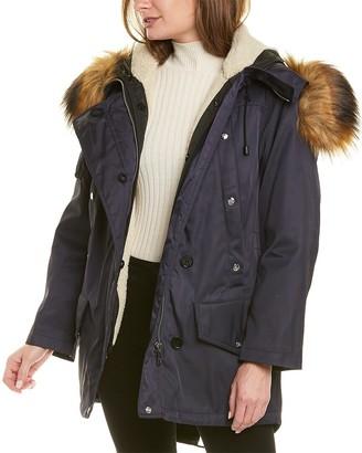 Burberry Faux Fur & Cotton Coat