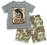 Amy Coe Baby Boys Camo Skull Tee and Shorts Set