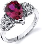 Ice 2 1/2 CT TW Ruby Sterling Silver Fashion Ring with CZ Accents
