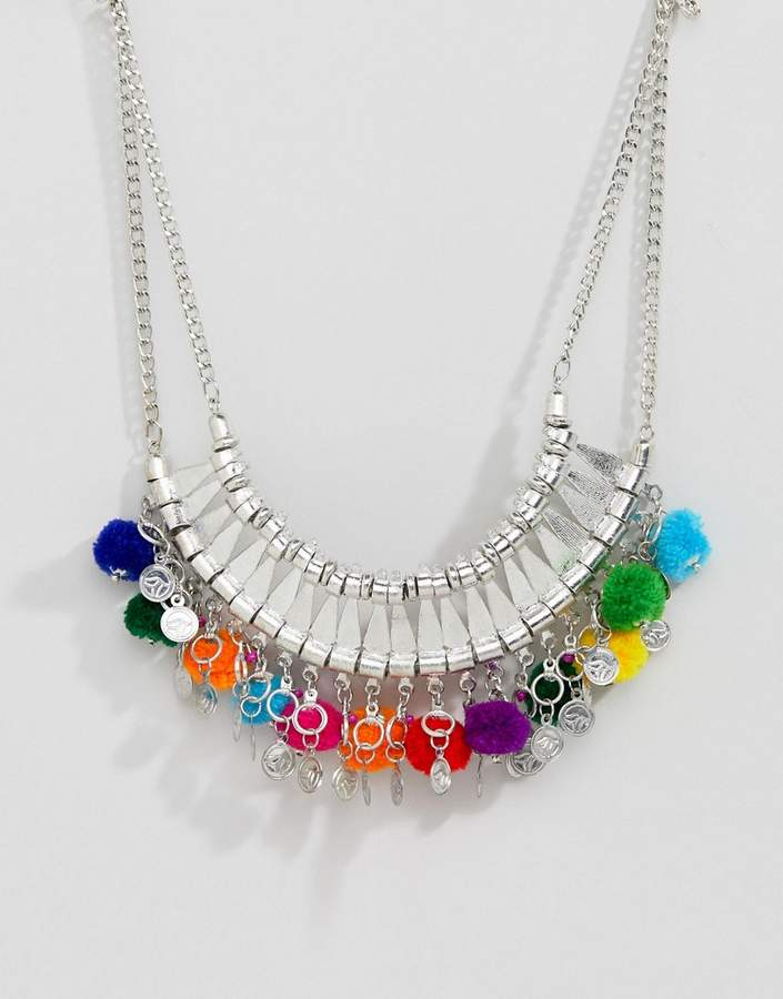 Asos Design DESIGN Statement Engraved Collar Necklace With Pom Poms