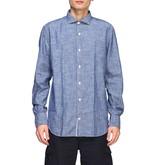 Eleventy Platinum Shirt In Slub Linen With A French Collar