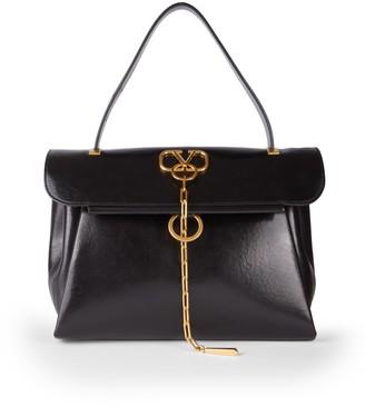 Valentino VChain Leather Top Handle Bag