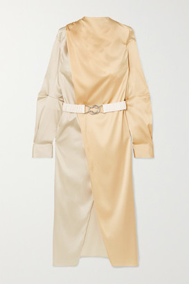 Bottega Veneta Belted Two-tone Stretch-silk Satin Wrap Dress - Ivory