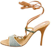 Just Cavalli Leather Ankle Strap Sandals