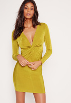 Missguided Twist Front Slinky Bodycon Dress Chartreuse Green
