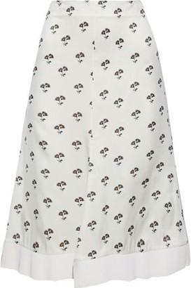 Victoria Beckham Fluted Floral-print Satin-twill Skirt