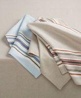 Martha Stewart Set Of 2 Dinner Napkins 19 X 19 Beige Blue Striped T4