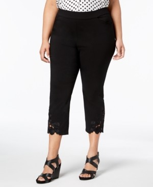 INC International Concepts Inc Plus Size Lace-Hem Capri Pants, Created for Macy's